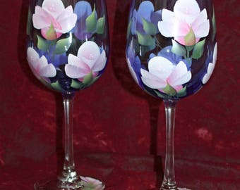 Hand Painted Wine Glasses (Set of 2) - Pink Roses on Cobalt Blue Glass