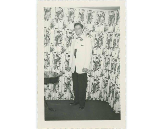 Teen in Tux, c1950s Vintage Snapshot Photo (78597)