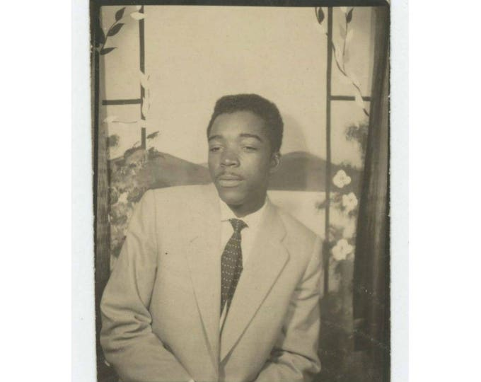 Vintage Arcade Photo Booth, c1940s: Handsome Young African American man w/ Pencil Mustache (710612)