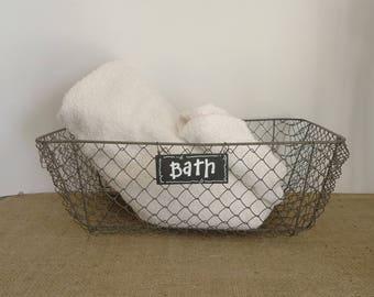 Large Wire Basket, Bathroom Storage, Farmhouse Kitchen, Chicken Wire Fruit  Basket, Cottage