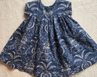 Blue Baby Dress / Blue Toddler Dress /Floral Baby Dress /Newborn 3 months 6 mo 12 mo 18 mo 2T 3T 4T 5T / Baby Gift/Vintage Style Dress