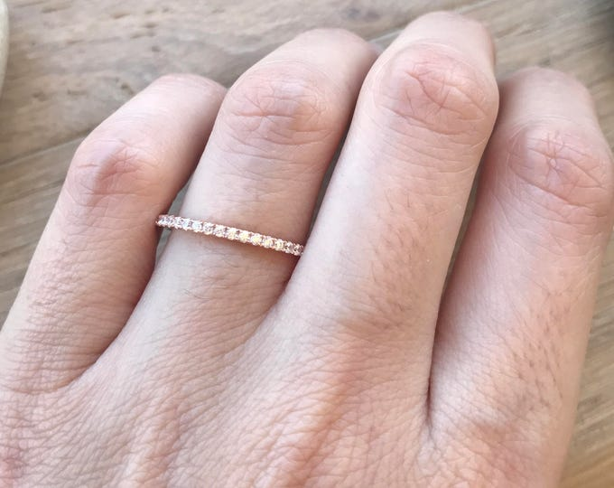 14k Rose Gold Eternity Band- Rose Gold Wedding Band- Cubic Zirconia Wedding Band- Stackable Wedding Band- Classic Wedding Band