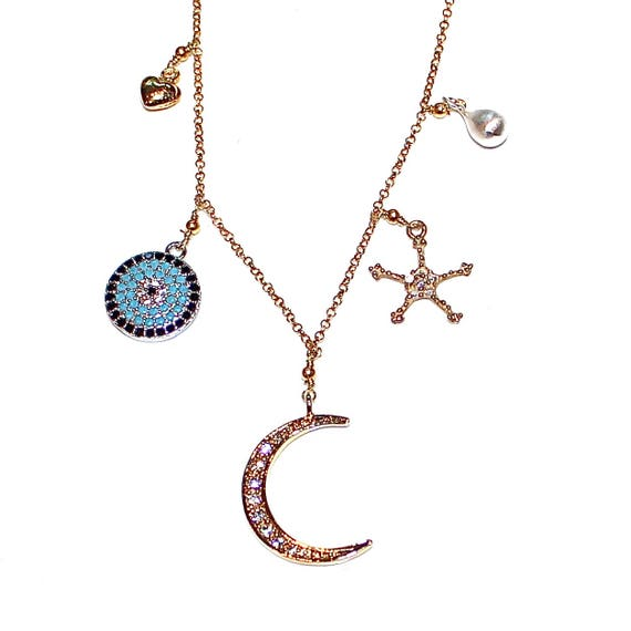 Asymmetrical Charm Necklace Celestial Necklace Mixed Metal Necklace Moon Necklace Evil Eye Necklace Charm Jewelry Long Necklace Fun Trendy