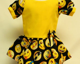 Emoji Print Dress  for 18 inch doll like the American Girl.