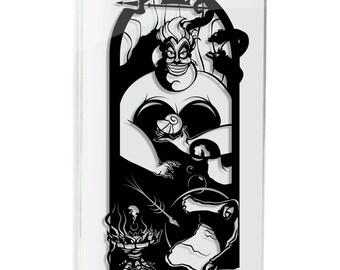 Ursula Sea Witch Little Mermaid silhouette hand cut paper craft handmade framed wall artwork geek art