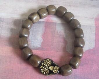 Black Day of the Dead Skull Beaded Bracelet with Wood Beads