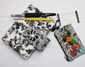 Black Floral Crochet Hook Holder - Crochet Hook Storage - Crochet Hook Case - Hook Organizer - Crochet Supplies - Crochet Gift Idea