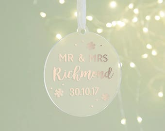 Wedding Keepsake Mr & Mrs Christmas Decoration Foil