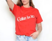 Vintage 80's Coke Is It Graphic T-Shirt Sz S/M