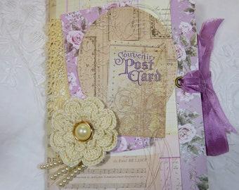 The Postcard-vintage style Journal, Handmade Journal, OOAK Journal, Shabby chic