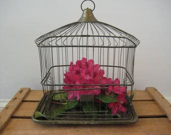 vintage brass birdcage - decorative birdcage - wire birdcage - birdcage - bird - nest - plant holder - farmhouse decor - home decor