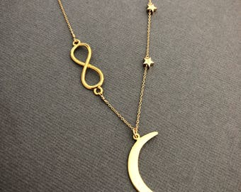 infinity necklace, Moon Necklace, Mother daughter necklace, Star necklace, Crescent Moon,I love you to the moon and back, muse411
