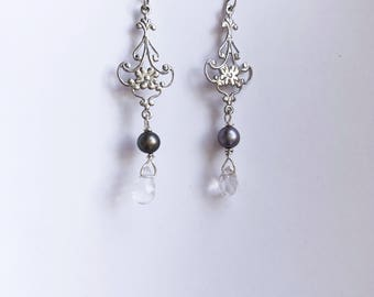 Pearl  Sterling Silver Chandalier Earrings. Wedding jewelry- maid of honor gift- bridesmaid jewelry- bride jewelry.