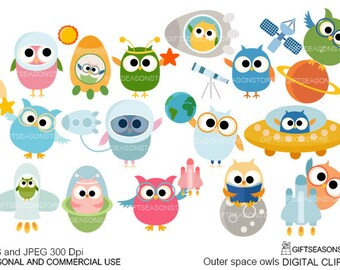 Outer space owls digital clip art for Personal and Commercial use - INSTANT DOWNLOAD