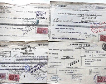 4 old french  receipts  1936 - 1939 - 1957