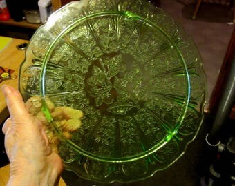green depression glass cherries, cherry blossom footed cake plate