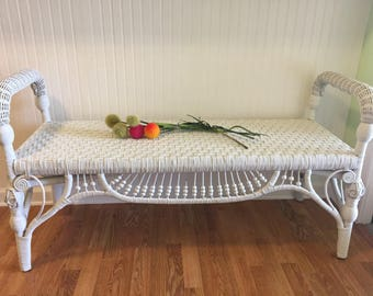 WHITE WICKER BENCH, Wicker Bench, End of Bed Bench, White Wicker,  Front Porch Bench, Vintage Bench, Pew, Stall, Settle at Ageless Alchemy