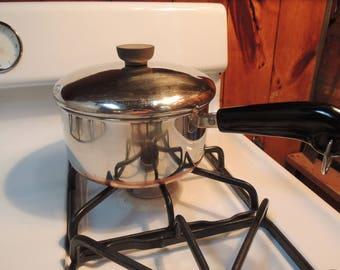 Revere Ware 2 Qt Copper Clad Saucepan, Lid, Top, Revereware, Beautiful condition, Vintage