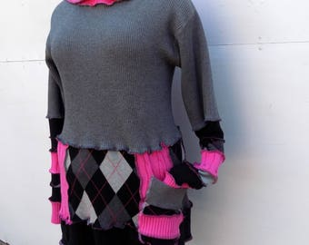 Katwise Inspired Hoodie - Cotton Pullover Sweater - XL 1X 2X - Pixie Hood - Fairy Attire - Upcycle Refashion - Steel Charcoal Hot Pink Grey