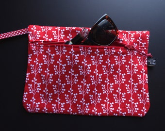 Fabric bag with strap, zippered, pouch, cotton red, flowers