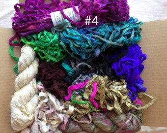 Destash Sari Silk Ribbon Mixed Lot Recycled Sari Yarn Sale