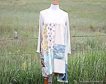Patchwork Upcycled Funky Ragdoll Dress Raw Tattered Boho Hippie Womens Clothing Size Large Earthy Simple Eco Clothes by Reloved Clothing Co