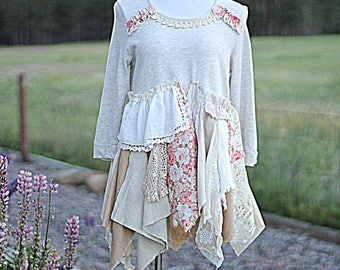 Women's Upcycled Sweatshirt Tattered Frayed Romantic Mori Girl Shirt / Recycled Shabby Tunic Unique Fashion Clothing Size Large