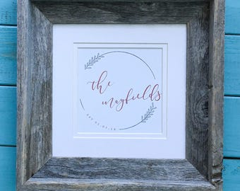 Wedding Date Sign   Wedding Date Gift   Wedding Date Print   Wedding Date Frame   Barnwood Frame with couples name