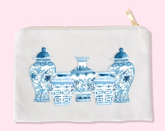 chinoiserie makeup bag - makeup bag - cosmetic bag  - unique makeup bag - chinoiserie bag - chinoiserie artwork - chinoiserie vase