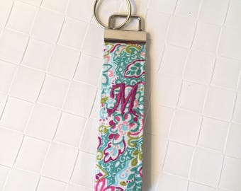 """Quilted fabric keyfob, keychain wristlet with aqua turquoise and pink flowers, 5"""" keychain, monogram keychain, paisley keychain"""