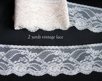 Antique Lace Vintage French Lace Beige 2 yards 2 inches wide