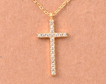 "Tiny Gold Silver CZ ""Cross"" Necklace - Religious Necklace - Dainty, Simple, Birthday Gift, Wedding Bridesmaid Gift"