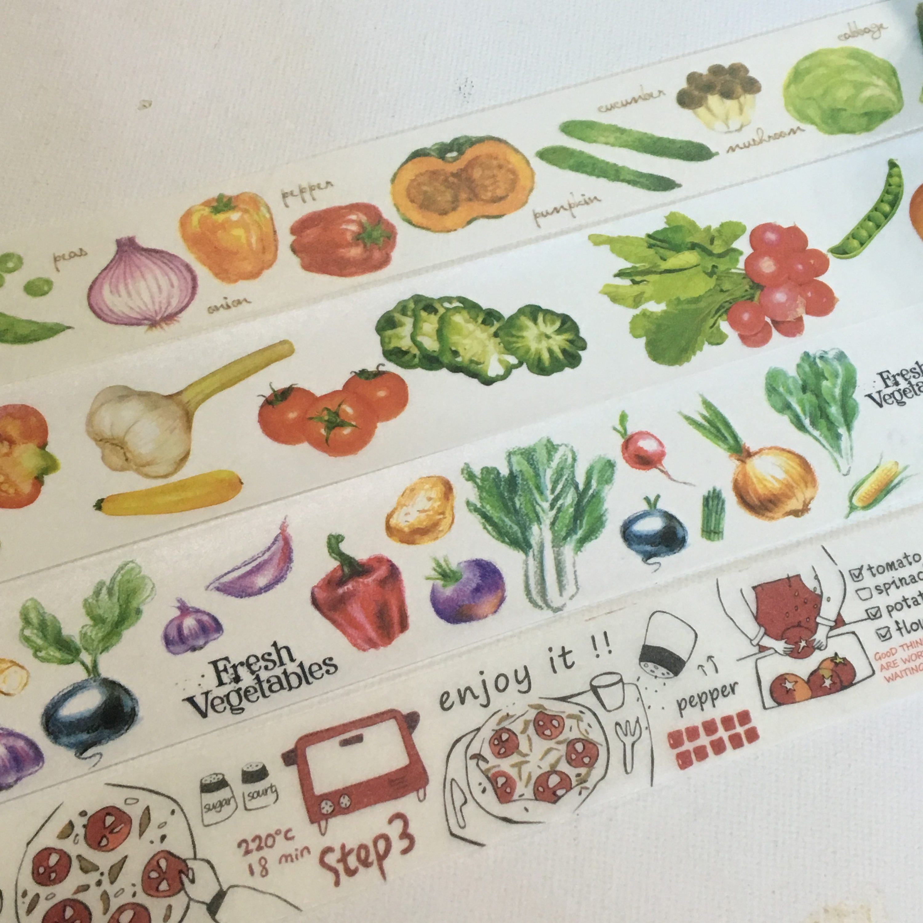 limited edition washi tape fresh produce vegetable and pizza making from collectinglife on etsy. Black Bedroom Furniture Sets. Home Design Ideas