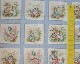 "PETER RABBIT 2006 Fabric Beatrix Potter 14"" x 44"" Blue - 27 squares in this cut"