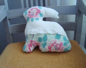Vintage fabric rabbit pillow