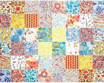"""Liberty of London 48 Mini 2.5"""" Charm Square Pack 2 of each design Pastel Muted yellow aqua orange Patchwork Quilting Cotton Tana Lawn Fabric"""