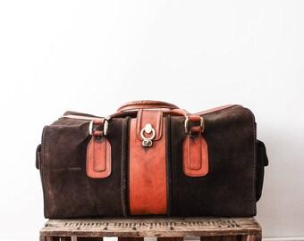 Leather Duffle Bag 70s Aged Weekender Bag Luggage Travel Sac A main En Cuir