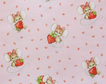 Vintage Hallmark All-Occasion Wrapping Paper - Gift Wrap - MICE and STRAWBERRIES - 1980s