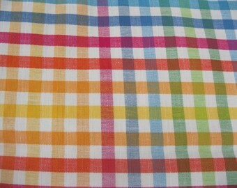 "32"" x 52"" Cotton Plaid Fabric yellow green red blue mixed check"