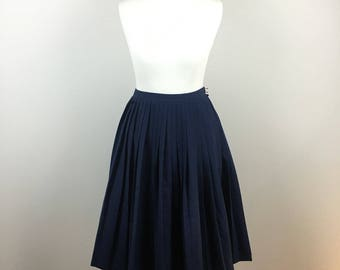 Vintage 1950s Skirt - 50s Navy Blue A Line Pleated Skirt - Formal Skirt - xxs Small -