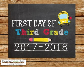 First Day of Third Grade Sign | Chalkboard Sign | First Day of School Sign | Back to School Printable | Third Grade | Photo Prop