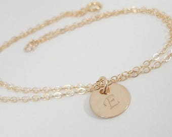 SALE - Tiny Gold Filled Initial Bracelet - Dainty Bracelet - Hand Stamped Mommy Jewelry - Delicate Monogram Bracelet