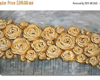 SALE Original Modern  Mustard  Gray  Flowers  Heavy  Impasto  Texture  Palette Knife Acrylic   Painting.