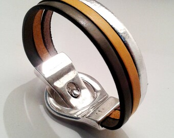 Leather Bracelet black mustard and silver with silver belt magnetic clasp