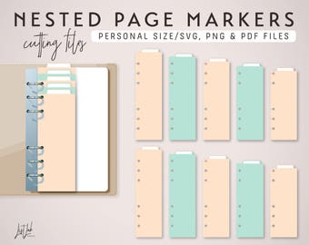 Nested PAGE MARKERS for Personal Size Planner – Die Cutting Files - svg, png, pdf