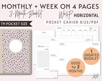 POCKET Size Monthly-Week on 4 Pages Horizontal Printable Booklet Insert - Good for 2 Months - fits Traveler's Notebook Pocket Size