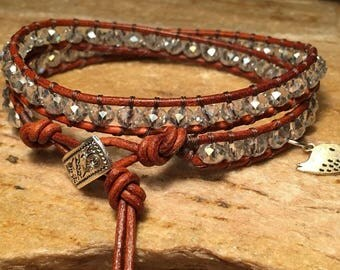 Special Order - Leather Wrap Beaded Bracelet
