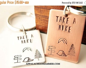 WEEKEND SALE Take A Hike Rectangle Pendant, Key Chain or Necklace, Hiker, Trails, Mountains, Tent