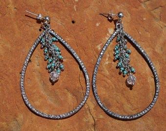 Rhinestone Teardrop Earrings, Turquoise Chandelier