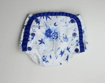 SALE - Cotton pique Bloomer -  Royal blue bloomers - size 6 Months (Discount included)